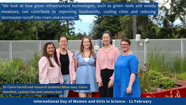 Dr Claire Farrell and her students Bihuan Guo, Claire Kenefick, Lavinia Chu and Lubaina Soni
