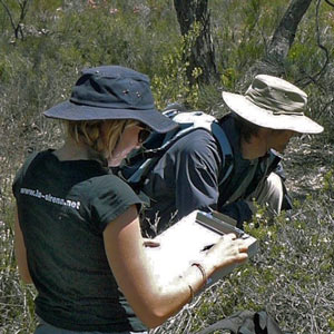 Botanists carrying out research in the Australian bush
