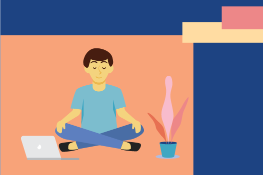 A cartoon person meditating in front of a computer