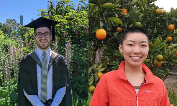 headshot of alex rafiniello in his graduation cap and gown and michelle chen in front of an orange tree