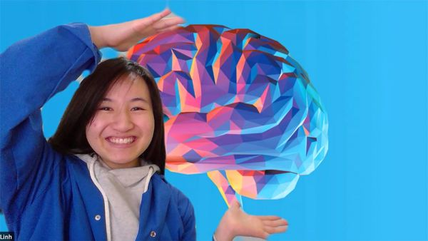 Woman imposed over graphic of the brain