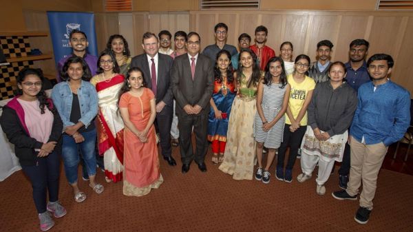 Students at a VIP reception with Duncan Maskell, VC of the University of Melbourne