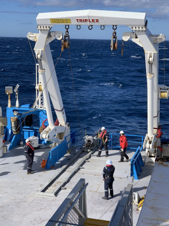 Kasten core being pulled up from the depths of the Southern Ocean