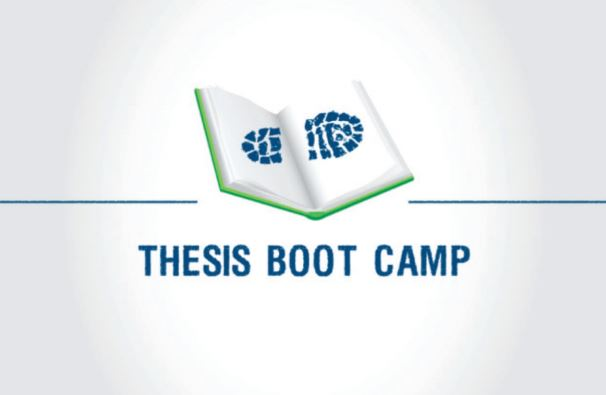 Drawing of a book and text saying thesis boot camp