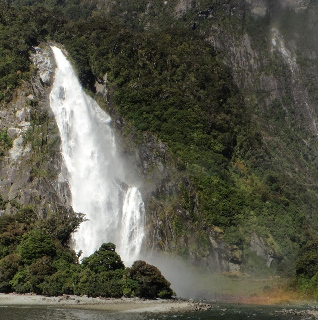 A waterfall near a glacier